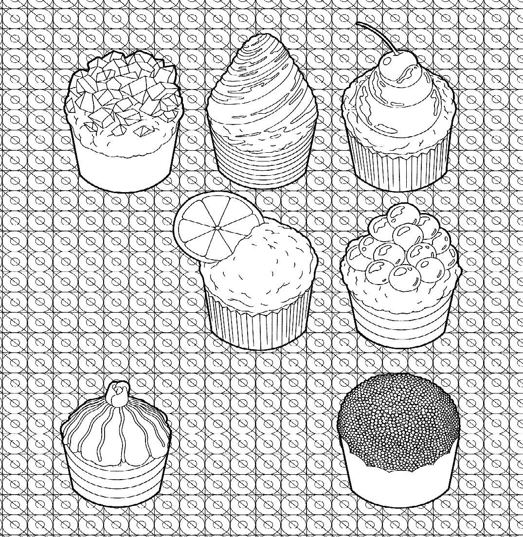 раскраска антистресс пирожные женщин